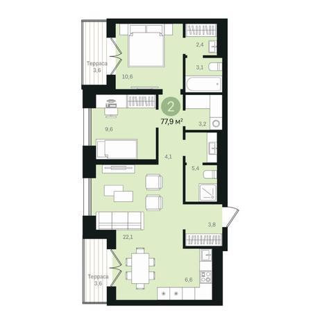 Вариант №6364, 3-комнатная квартира в жилом комплексе