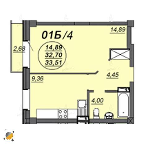 Вариант №2336, 1-комнатная квартира в жилом комплексе Аэропорт