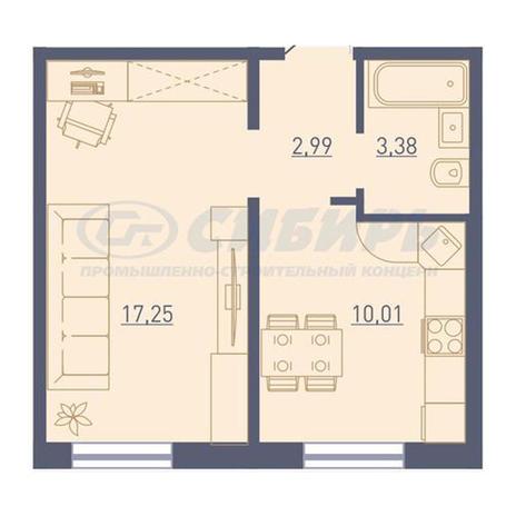 Вариант №3729, 1-комнатная квартира в жилом комплексе Радуга Сибири