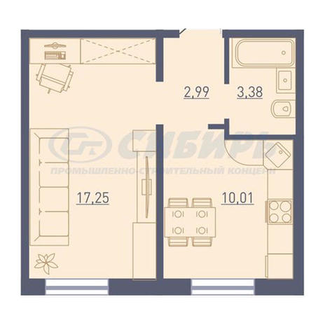 Вариант №3729, 1-комнатная квартира в жилом комплексе