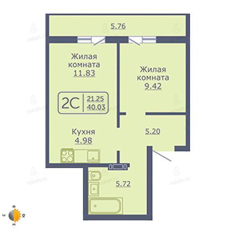 Вариант №2055, 2-комнатная квартира в жилом комплексе Радуга Сибири