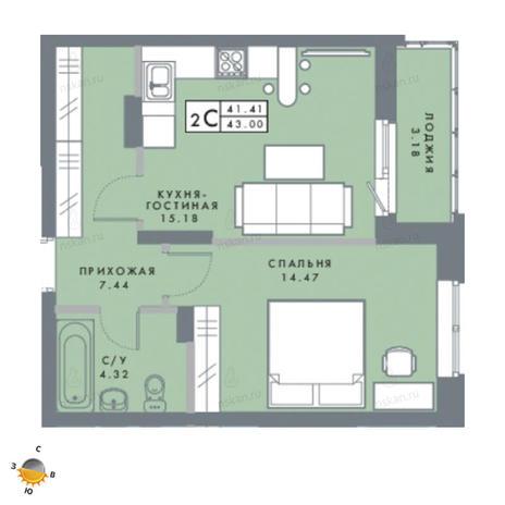 Вариант №2479, 2-комнатная квартира в жилом комплексе Традиции