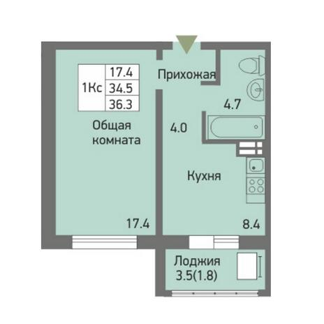 Вариант №3876, 1-комнатная квартира в жилом комплексе Акварельный 3.0