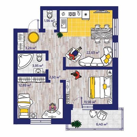 Вариант №4374, 3-комнатная квартира в жилом комплексе Новые Снегири