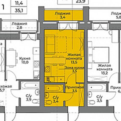 Вариант №3964, 1-комнатная квартира в жилом комплексе