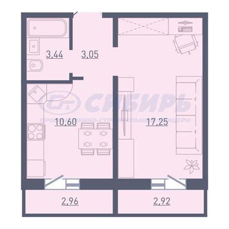 Вариант №3739, 1-комнатная квартира в жилом комплексе