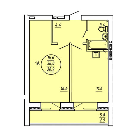 Вариант №3585, 1-комнатная квартира в жилом комплексе