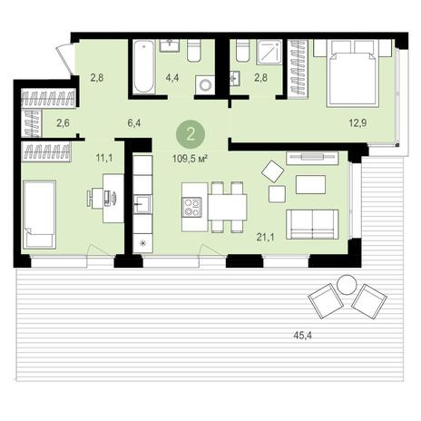 Вариант №4165, 3-комнатная квартира в жилом комплексе
