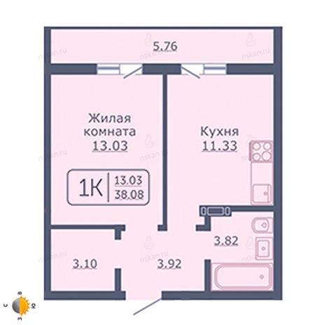 Вариант №2029, 1-комнатная квартира в жилом комплексе