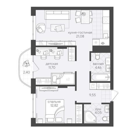 Вариант №6184, 3-комнатная квартира в жилом комплексе