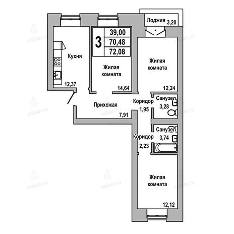 Вариант №1035, 3-комнатная квартира в жилом комплексе ГринАрт