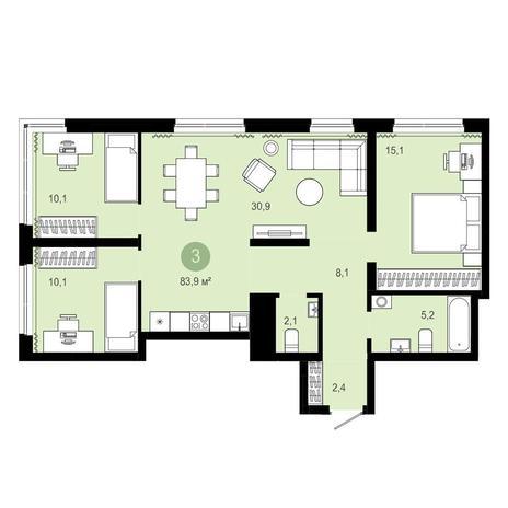 Вариант №4071, 4-комнатная квартира в жилом комплексе Европейский Берег