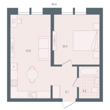 Вариант №5895, 1-комнатная квартира в жилом комплексе