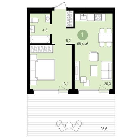 Вариант №4178, 1-комнатная квартира в жилом комплексе