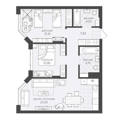 Вариант №6193, 3-комнатная квартира в жилом комплексе