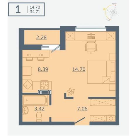 Вариант №4761, 1-комнатная квартира в жилом комплексе