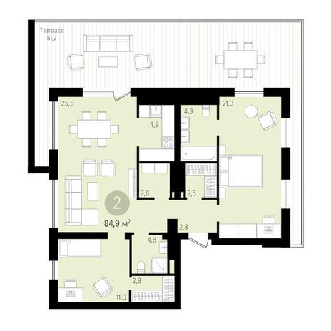 Вариант №3448, 3-комнатная квартира в жилом комплексе Европейский Берег