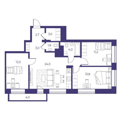 Вариант №5307, 4-комнатная квартира в жилом комплексе