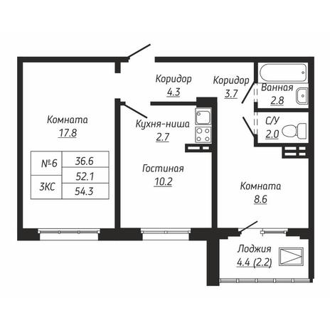 Вариант №6662, 3-комнатная квартира в жилом комплексе