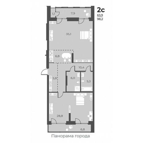 Вариант №5807, 2-комнатная квартира в жилом комплексе