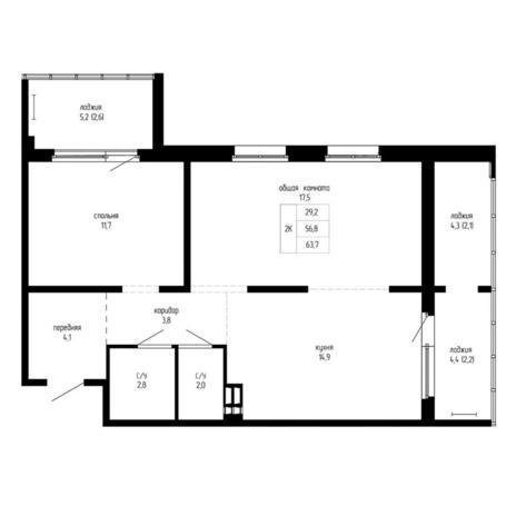 Вариант №5191, 2-комнатная квартира в жилом комплексе