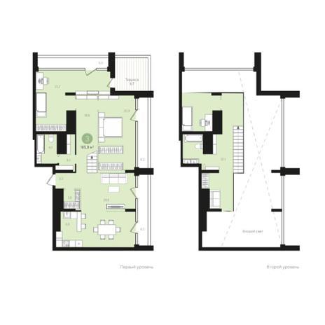 Вариант №5988, 3-комнатная квартира в жилом комплексе