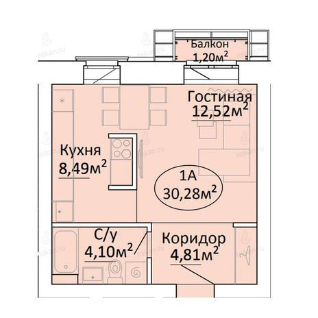 Вариант №2191, 1-комнатная квартира в жилом комплексе Малахит