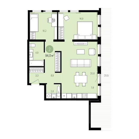 Вариант №5011, 3-комнатная квартира в жилом комплексе Пшеница