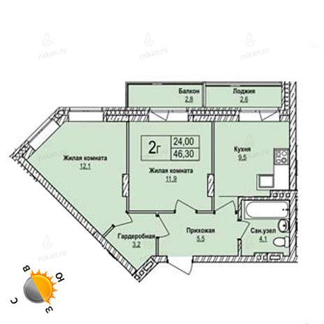 Вариант №1248, 2-комнатная квартира в жилом комплексе Северная корона