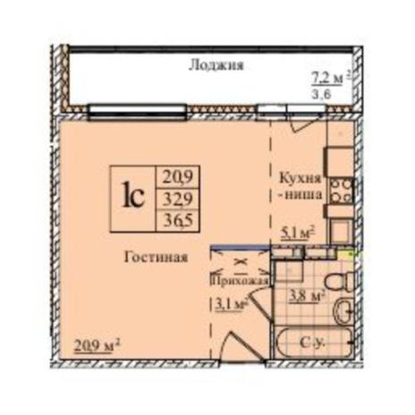 Вариант №5798, 1-комнатная квартира в жилом комплексе
