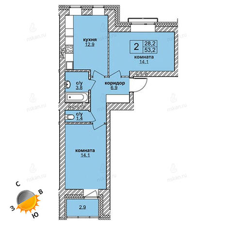Вариант №1600, 3-комнатная квартира в жилом комплексе