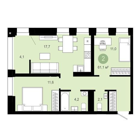 Вариант №4036, 3-комнатная квартира в жилом комплексе