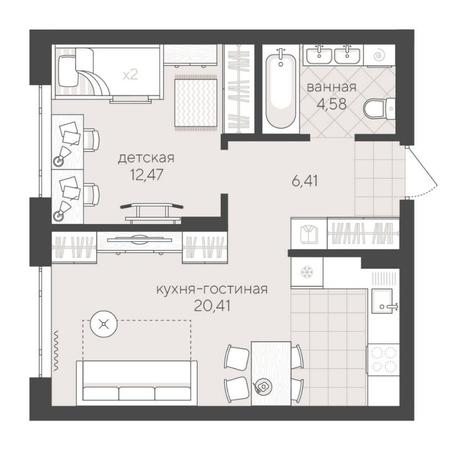 Вариант №6230, 2-комнатная квартира в жилом комплексе