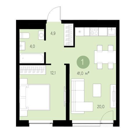 Вариант №4664, 2-комнатная квартира в жилом комплексе Ясный берег