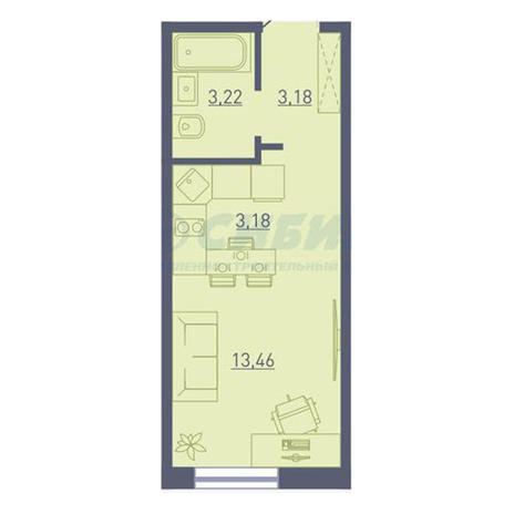 Вариант №3731, 1-комнатная квартира в жилом комплексе Радуга Сибири