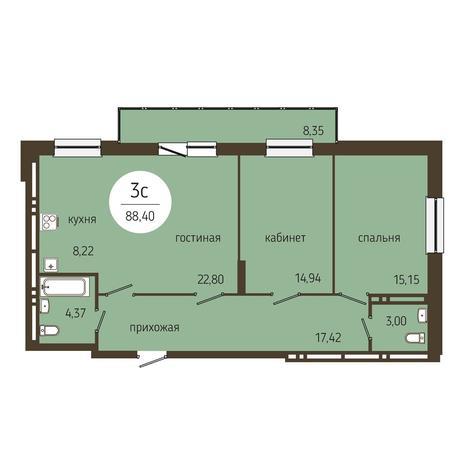 Вариант №4042, 3-комнатная квартира в жилом комплексе Оникс