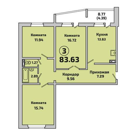 Вариант №3393, 3-комнатная квартира в жилом комплексе Родники