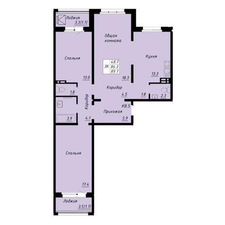 Вариант №5260, 3-комнатная квартира в жилом комплексе Маяк
