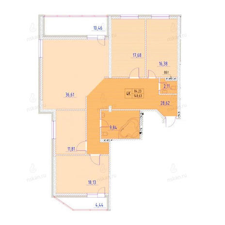 Вариант №954, 4-комнатная квартира в жилом комплексе Беркут хаус