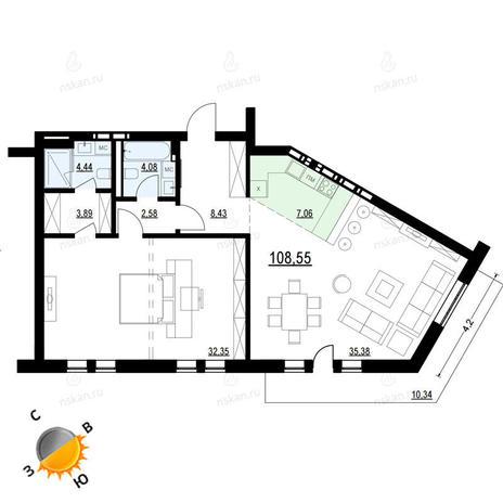 Вариант №910, 2-комнатная квартира в жилом комплексе Montblanc