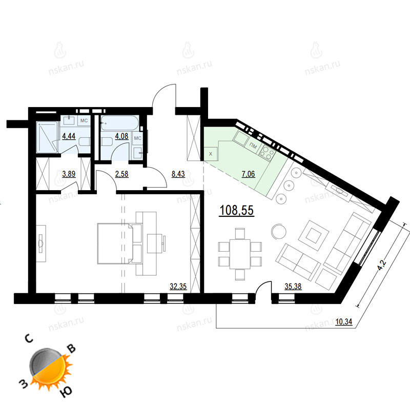Планировка 2-комн. студия площадью 108.55 м<sup>2</sup> в ЖК Жуковка