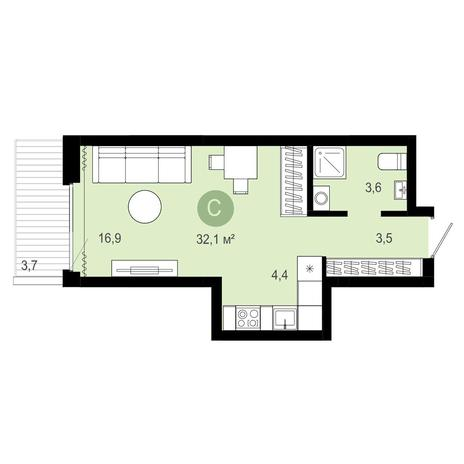 Вариант №4085, 1-комнатная квартира в жилом комплексе Европейский Берег