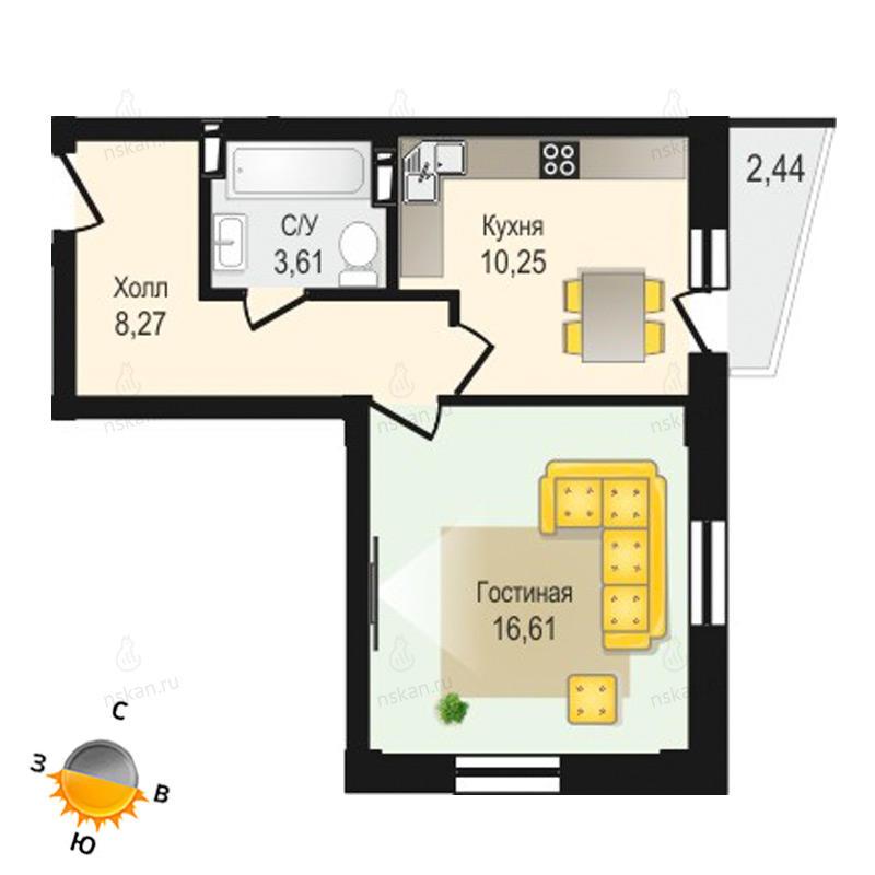 Планировка 1-комнатная площадью 38.74 м<sup>2</sup> в ЖК Крымский