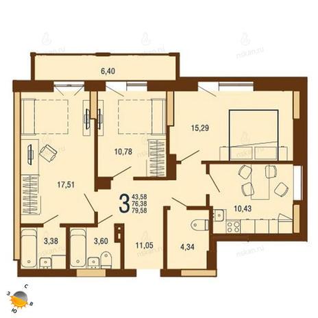 Вариант №1809, 3-комнатная квартира в жилом комплексе На Доватора