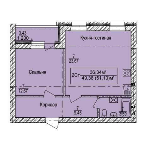 Вариант №6143, 2-комнатная квартира в жилом комплексе
