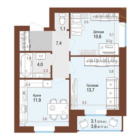 Вариант №4224, 2-комнатная квартира в жилом комплексе