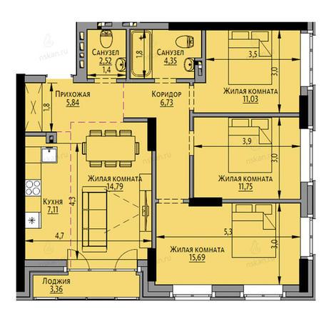 Вариант №2695, 4-комнатная квартира в жилом комплексе Академия