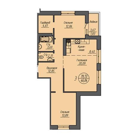 Вариант №3213, 3-комнатная квартира в жилом комплексе Облака