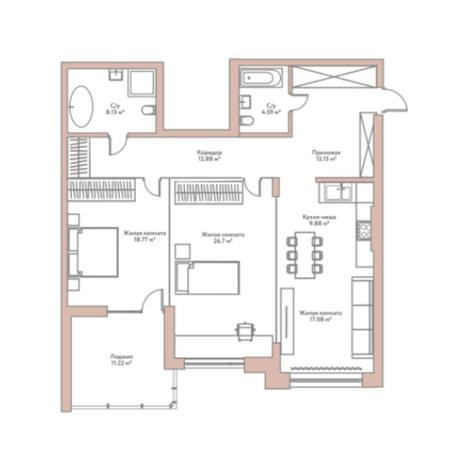 Вариант №5960, 3-комнатная квартира в жилом комплексе