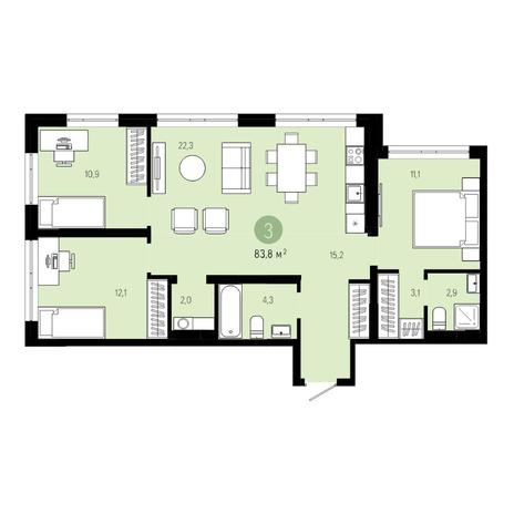 Вариант №4602, 4-комнатная квартира в жилом комплексе Европейский Берег